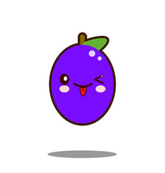 cute plum fruit cartoon character icon kawaii flat vector image