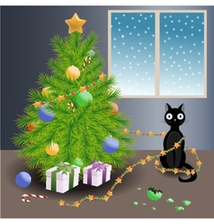 Naughty cat and Christmas tree vector image