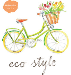 watercolor bike - vector image vector image