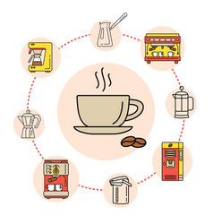 coffee shop flat line collection drink consept vector image vector image