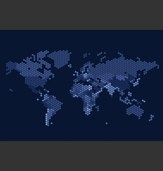 Dotted World map of hexagonal dots vector image vector image
