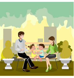 family sitting in a park vector image vector image
