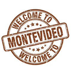 Welcome to montevideo brown round vintage stamp vector
