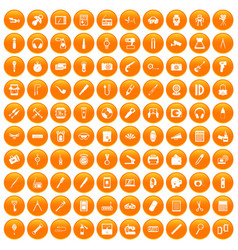 100 portable icons set orange vector