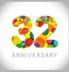 32 years anniversary circle colorful logo vector image