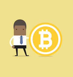 african businessman with a bitcoin vector image