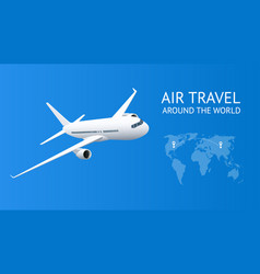 airplane in blue sky air travel vacation or vector image