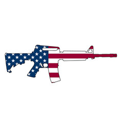 american flag gun semi-automatic rifle vector image
