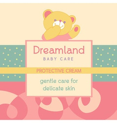 background with a label for Baby cosmetic vector image