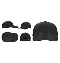 black cap mockup sport baseball caps template vector image