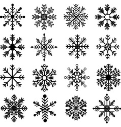 Black Snowflakes Silhouette set vector image