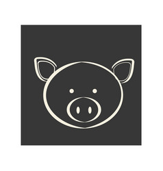 black square picture of pig animal vector image