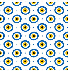 blue and gold evil eyes seamless pattern vector image