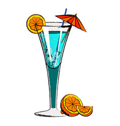 blue cocktail with orange slices vector image