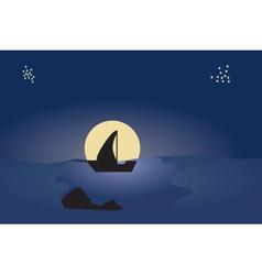 Boat moon vector