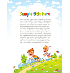 boy and girl go for a drive on bicycles vector image
