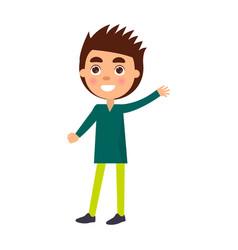 boy congratulates with happy children day vector image