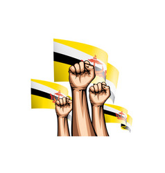 Brunei flag and hand on white background vector