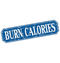 Burn calories blue square vintage grunge isolated vector