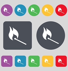 burning match icon sign A set of 12 colored vector image