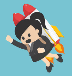 Business woman flying off with jet pack vector