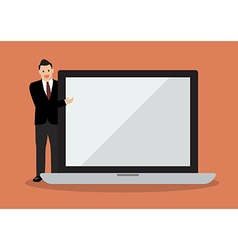 Businessman pointing to the screen of a laptop vector