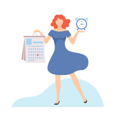 businesswoman planning her personal schedule or vector image