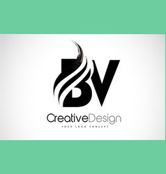 Bv b v creative brush black letters design with vector