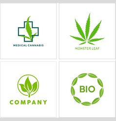 cannabis leaf logo icon collection vector image