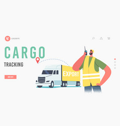 Cargo tracking landing page template worker male vector
