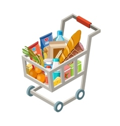 Cart with products vector