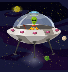 Cartoon alien in flying saucer ufo vector