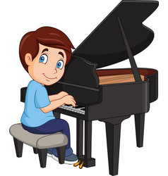 cartoon little boy playing piano vector image