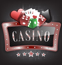 Casino with ornate frame card symbols playing vector