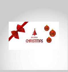christmas card with red bow and balls vector image
