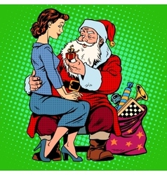 Christmas gift Santa Claus and a beautiful girl vector image