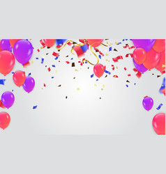 colorful balloons and holiday confetti holiday vector image
