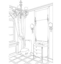 Contemporary interior doodles bathroom vector