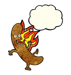 Crazy cartoon sausage with thought bubble vector