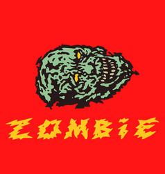 Creepy green zombie head vector
