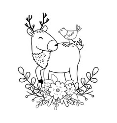cute reindeer with bird woodland characters vector image
