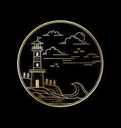 design lighthouse golden color vector image