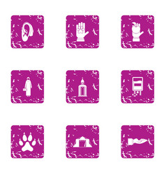 Division of nature icons set grunge style vector