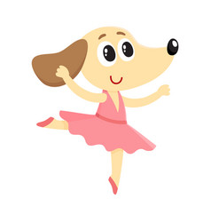 dog puppy character ballet dancer in pointed vector image