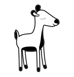 female deer cartoon with closed eyes expression in vector image