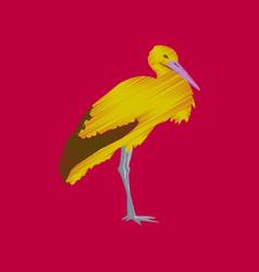 Flat shading style icon stork vector