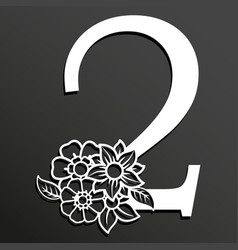Floral number 2 vector
