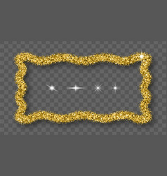 Gold glitter frame with bland shadows vector