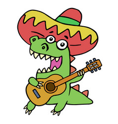 green dragon in mexican hat and with guitar on vector image