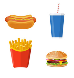 group of fast food products vector image